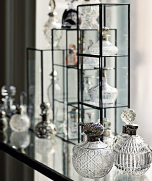 Collectible glass bottles on display