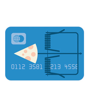 Illustration of a debit card as a mouse trap