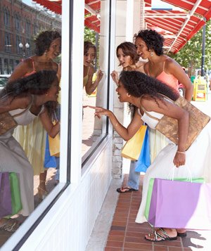 A group of friends window shopping