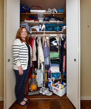 Margaret's cluttered closet before closet makeover