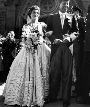 John F. Kennedy and Jacqueline Kennedy on their wedding day