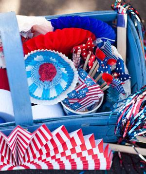 Container of 4th of July party props