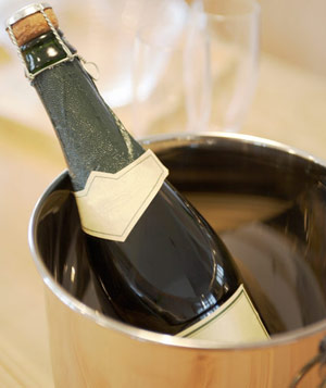 Bottle of chilled sparkling wine