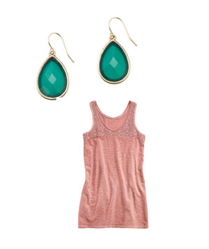 Lydell earrings and Banana Republic top