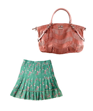 Rebecca Taylor chiffon skirt and Coach leather bag