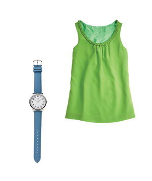 Kate Spade top and Timex watch