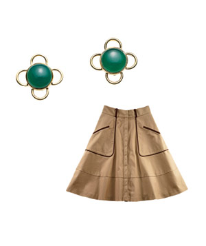 Julie Collection earrings and Cynthia Steffe skirt