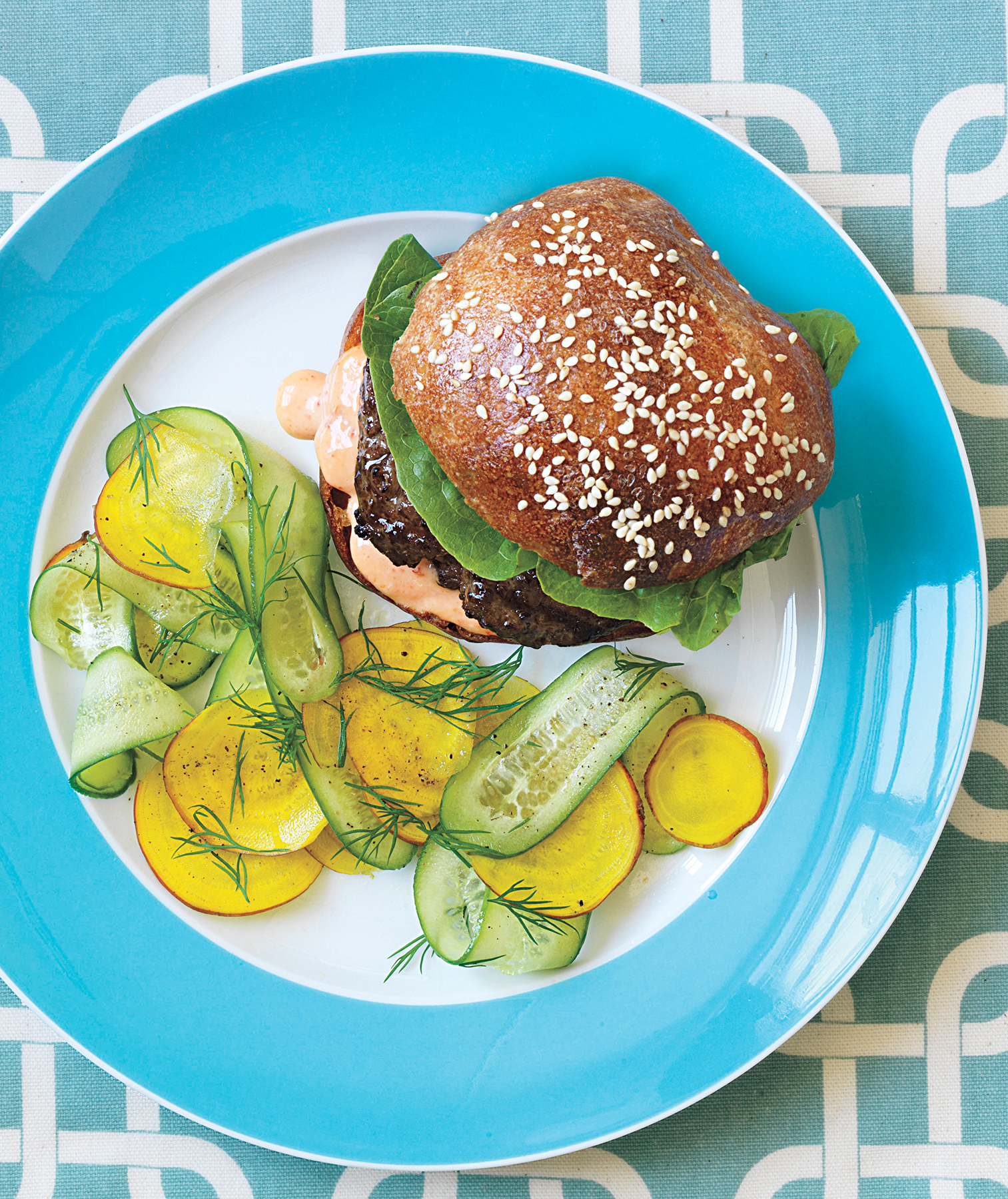 Spiced Beef Burger With Shaved Cucumber and Beet Salad