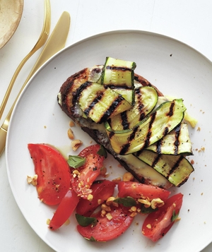 Zucchini Melts with Tomato Hazelnut Salad