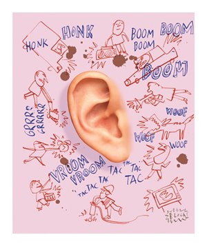 Illustration of giant ear surrounded by little caricatures making loud noises on pink background