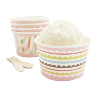 Colorful paper ice cream bowls