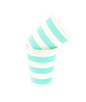 Turquise and white striped paper cups