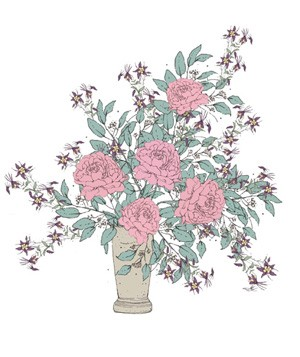 Illustration of bouquet with pink flowers and wispy elements