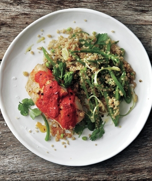 Striped Bass With Spicy Red Pepper Sauce and Quinoa Snap Pea Salad