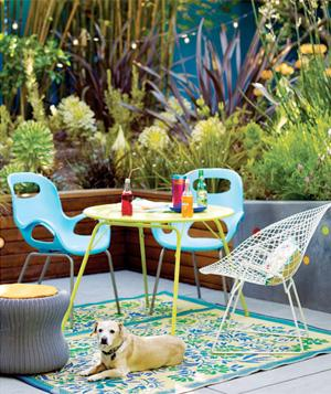 Modern plastic patio furniture with bright outdoor rug and dog