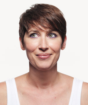 Short-haired woman with makeup