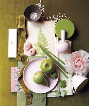 Moss green, petal pink and olive inspiration accessories