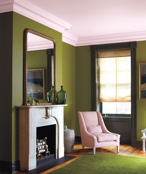 Moss green, petal pink and olive decorated room