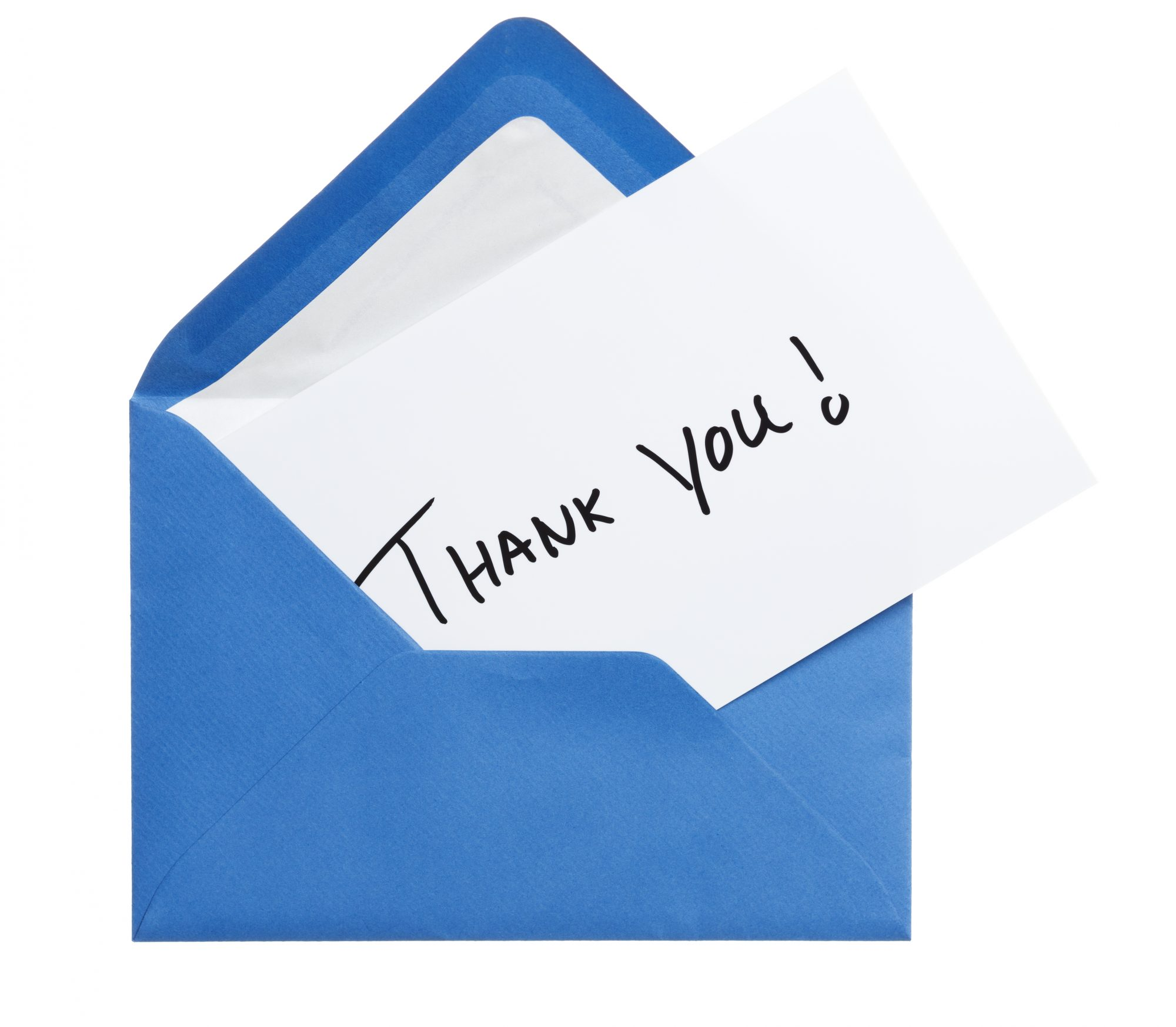 Thank-you note in a blue envelope