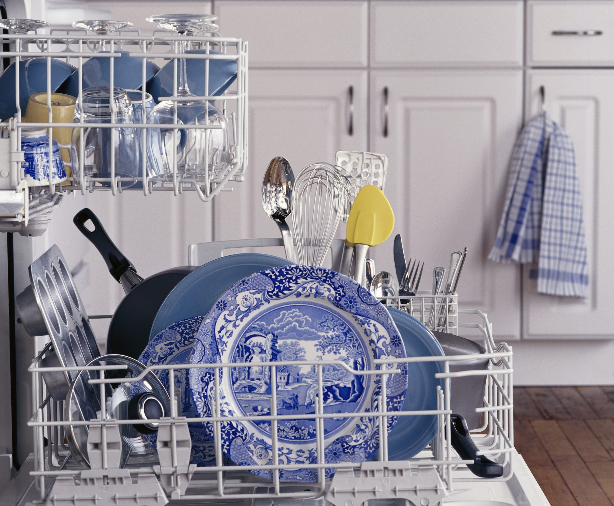 Dishwasher with blue and white dishes