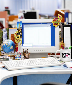 Desk cluttered with souvenirs