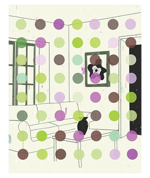 Illustration of a living room with colored dots