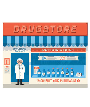Illustration of a pharmacy