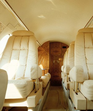 Private jet aircraft interior