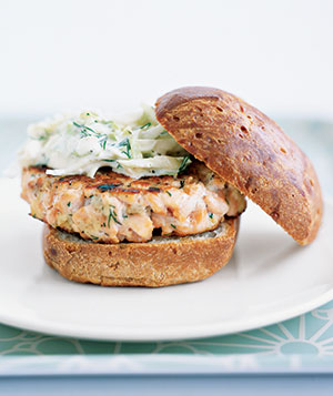 Canned Salmon (about $4.89 per 14.75-ounce can or $0.90 per 2-ounce serving)