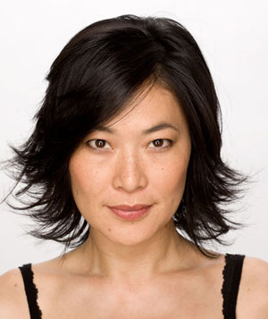 Black haired model with layered bob hairstyle