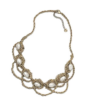 Talbots Faux-Pearl & Chain Necklace