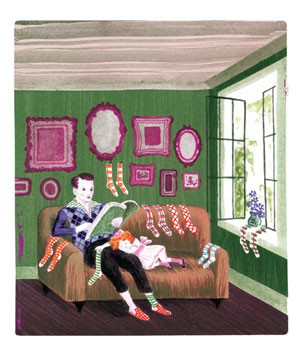 Illustration of father reading to sleeping daughter on couch with many pairs of socks hanging around room