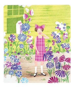 Illustration of giggling girl in a pink dress with bow in hair, standing in garden of wildflowers