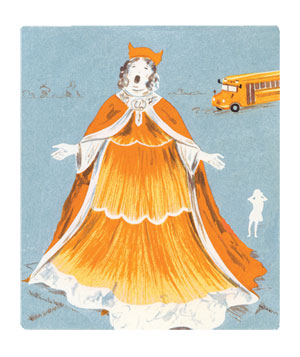 Illustration of woman in long orange gown and cape singing opera with school bus in background