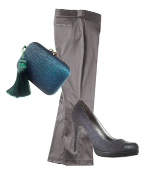 Grey slacks and grey wool heels, teal clutch