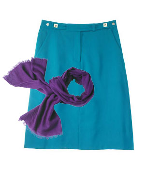 Teal wool skirt and purple wool and silk scarf
