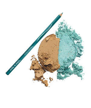 Eye shadow and turquoise eye liner pencil