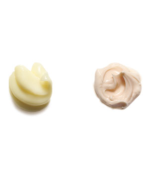 Dollop of conditioning mask and leave-in conditioner