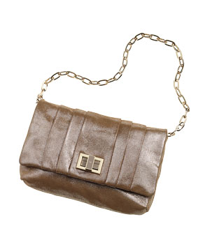 Anya Hindmarch gold-lamé leather clutch