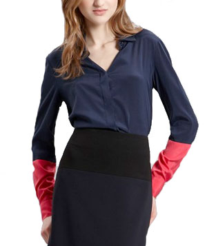 DKNY Button Thru Blouse With Contrast Sleeve