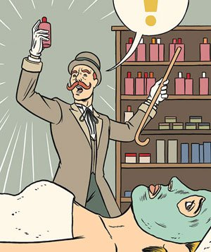 Illustration of snake-oil salesman and woman with facial mask