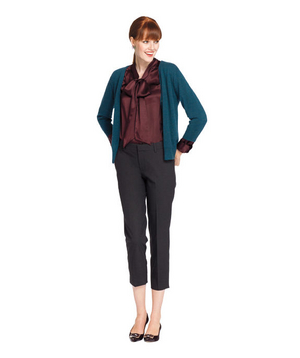 Cropped pants, silk blouse, and teal cardigan