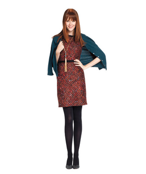 Wool dress and colored cardigan