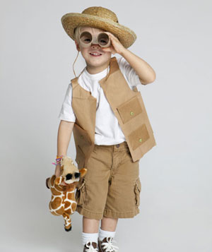 Boy wearing safari costume