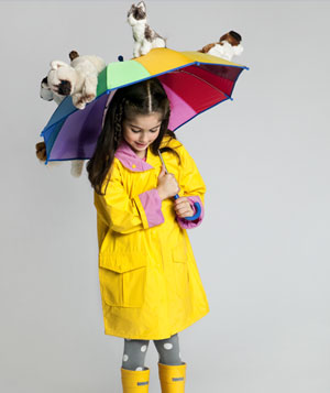 Girl wearing rain costume