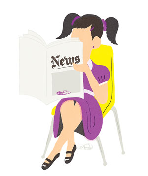 Illustration of girl reading newspaper