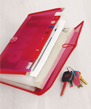 Accordion file folder with car keys