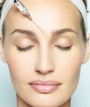 Model getting botox injection