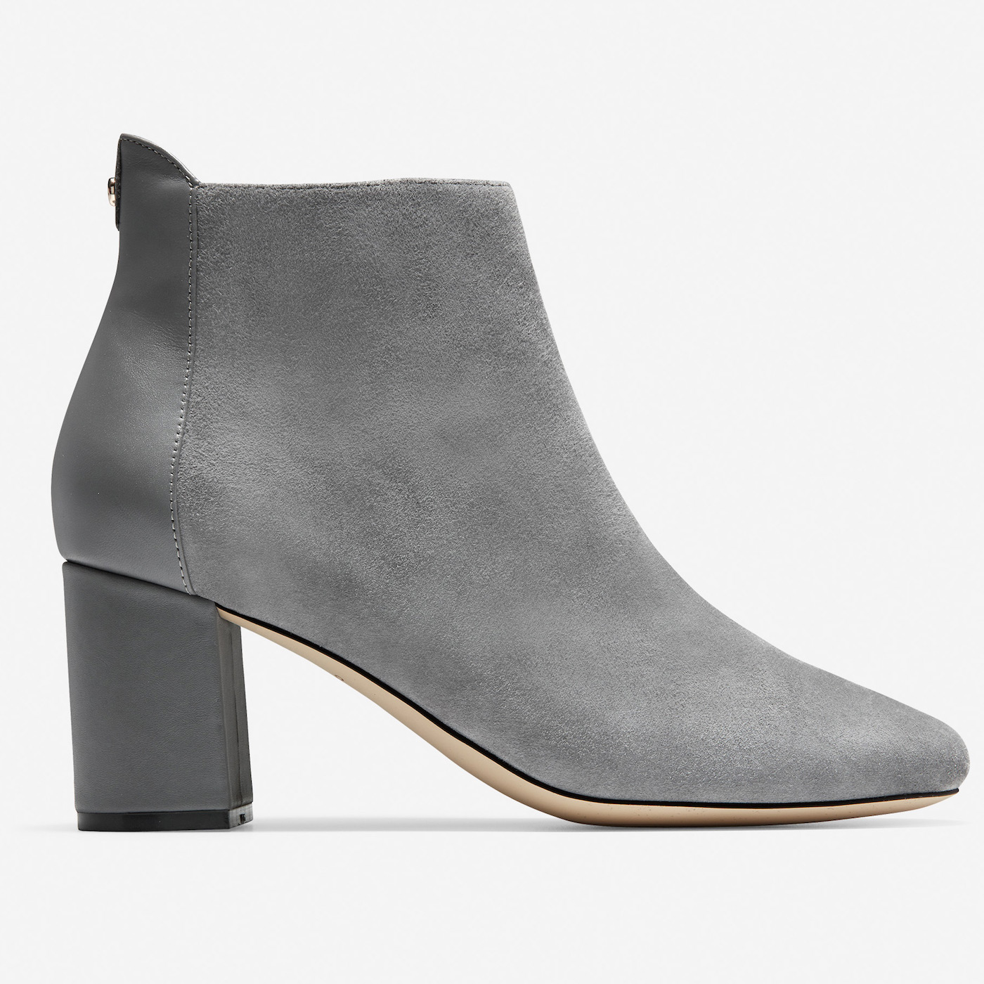 cole haan gray suede ankle bootie