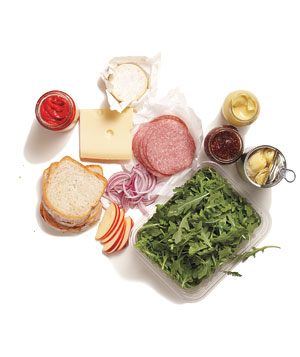 Various ingredients for making sandwiches